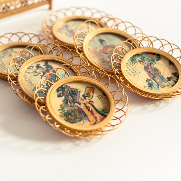 Oddhaus Vintage Decoration Luxembourg - Retro Wicker Bamboo Coasters