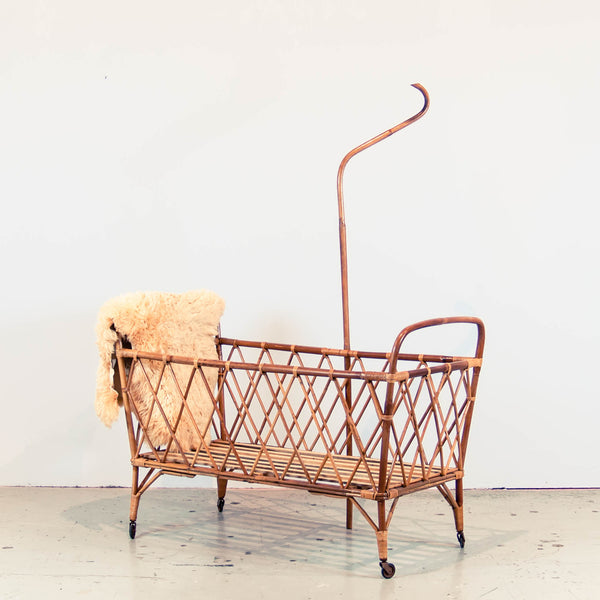 Oddhaus Vintage Luxembourg French Bohemian Vintage Rattan Baby Crib