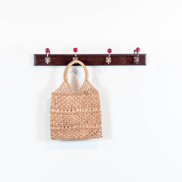 Oddhaus Vintage Luxembourg Bohemian Straw Crochet Market Tote Bag
