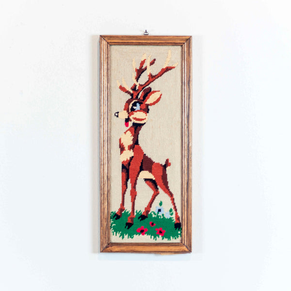 Oddhaus Vintage Decoration Luxembourg Cross stitched embroidery bambi canvas