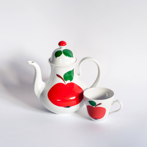 Retro 70s Bavaria Tea / Coffee Set Red Apple Motif