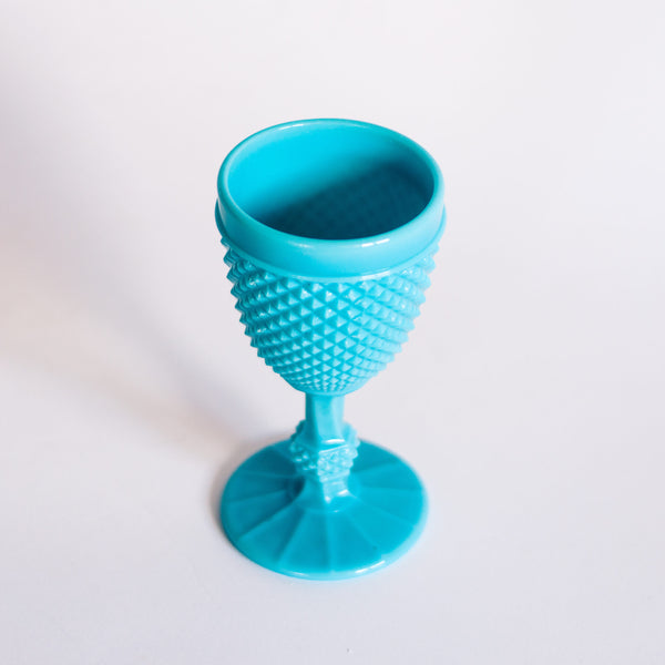 § Turquoise Milk Glass Hobnail Goblet - Casa Pupo London