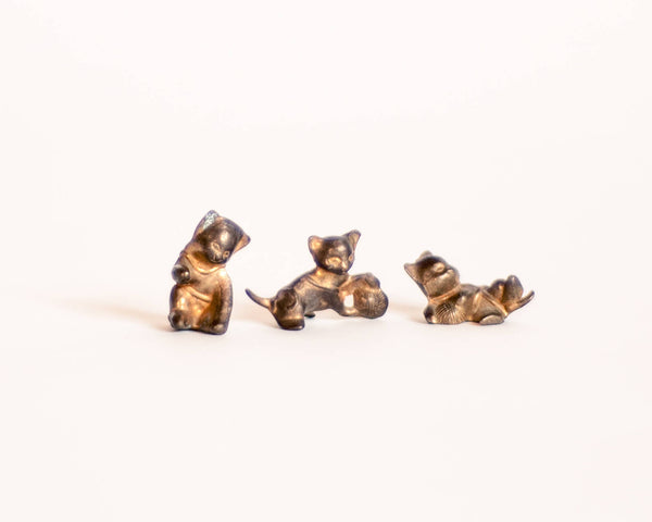 § Miniature Brass Kitten Figurine Trio