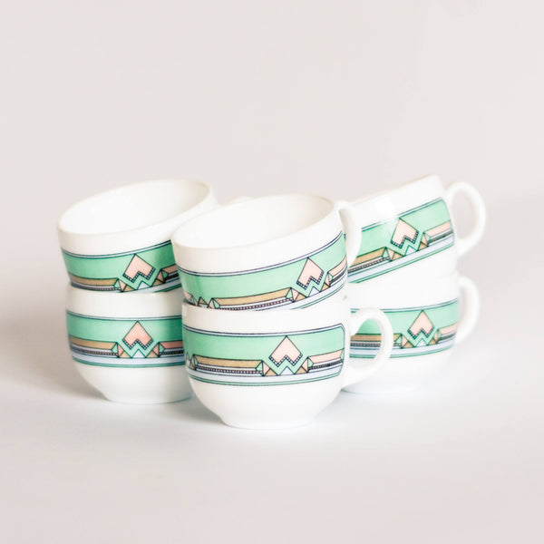 Geometric Mint Green Arcopal Esso Cups