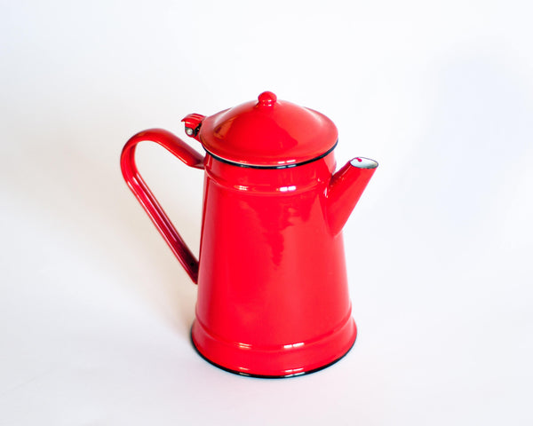 § Tomato Red French Enamel Coffee Pot