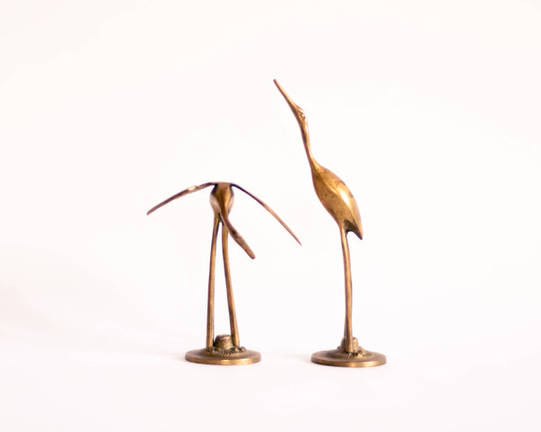 § Mid-century Brass Heron Figurines - set of 2