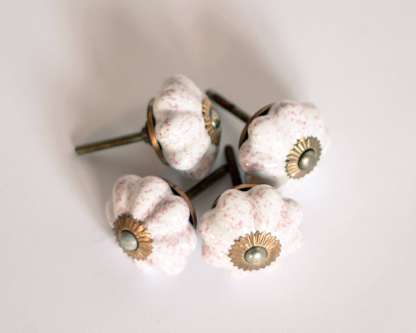 Antique French Porcelain Drawer Knobs - Set of 4