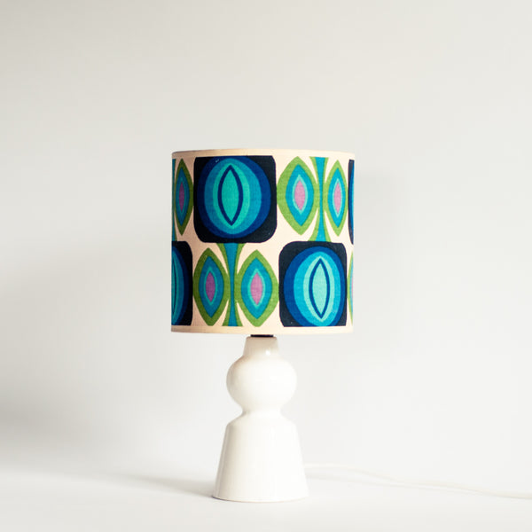 Oddhaus Vintage Luxembourg Geometric Retro Pop Vintage Table Lamp Blue and White