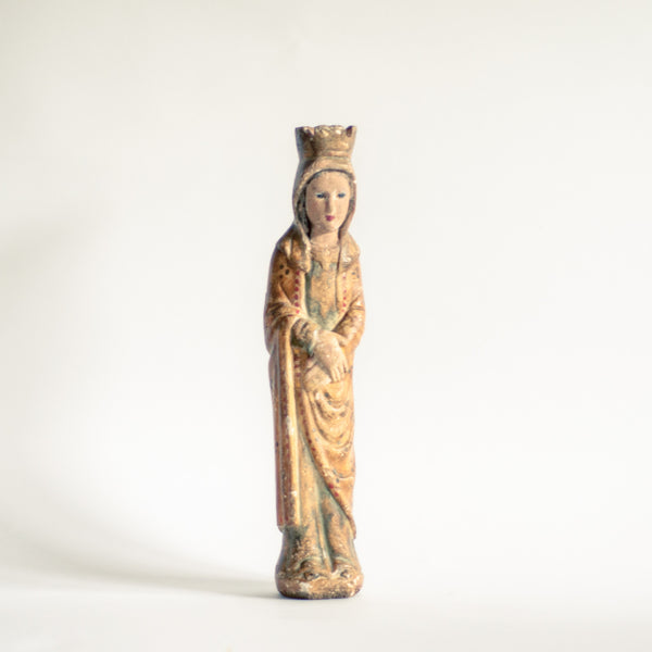 18th Century Polychrome Religious Virgin Mary Statues