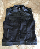 WOMAN VEST Black Canvas Black Leather