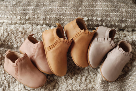 Lacey baby boots - boots for babies and toddlers in natural leather with soft soles. Sizes 6 months to 2.5 years old - Kit & Kate Australia Online