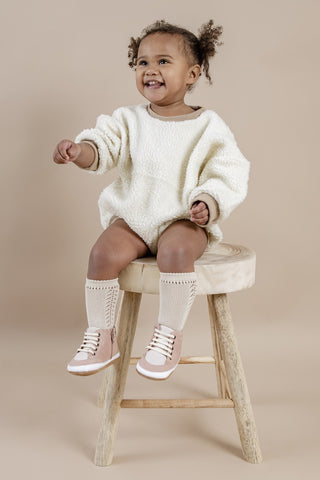Cool pink baby sneakers for toddlers and children aged 1 and 2 years old by Kit & Kate