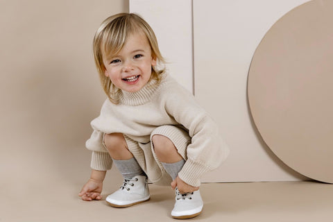 Charlie Boo Baby Leather Soft Soled Boots for toddlers taking their first steps and falling down