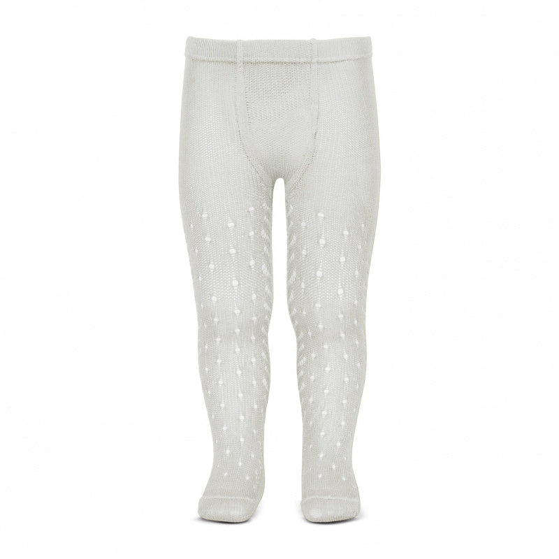 Condor Tights - Side Openwork Lace in Pearl White