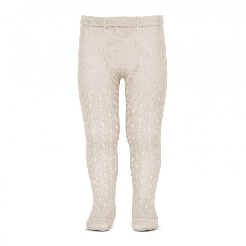 Condor Tights - Side Openwork Lace in Linen