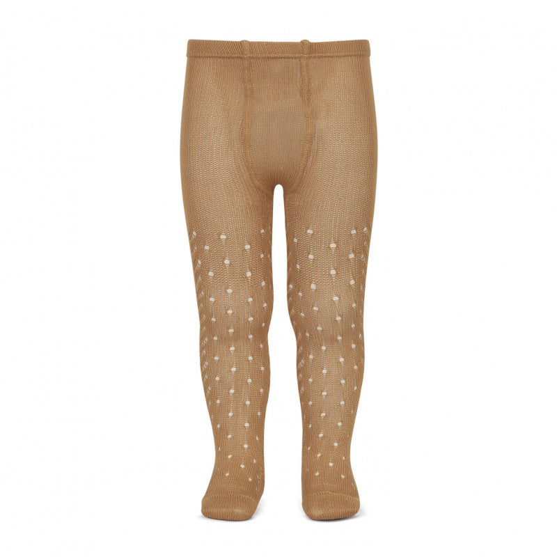 Condor Tights - Full Openwork Lace in Camel
