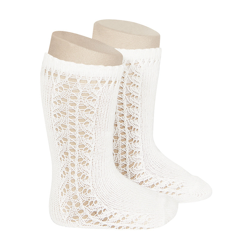 Condor Socks - Side Openwork Lace Knee High - Cream