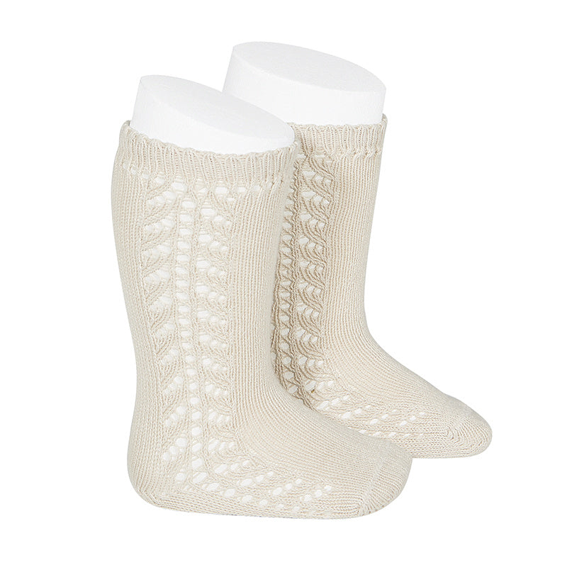 Condor Socks - Side Openwork Lace Knee High - Linen