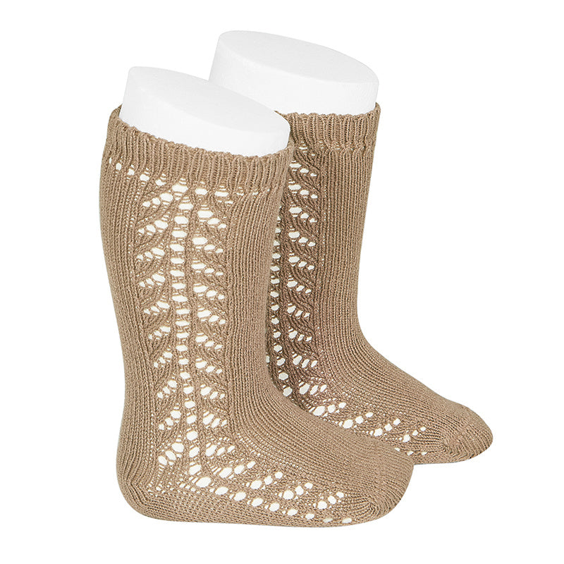 Condor Socks - Side Openwork Lace Knee High - Camel