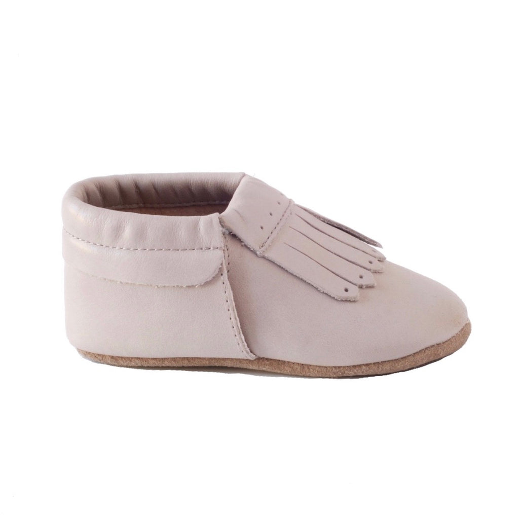 Baby Moccs or Moccasins in a Loafer style made from natural leather for toddlers and babies for ages 1 year old  and 2 years old