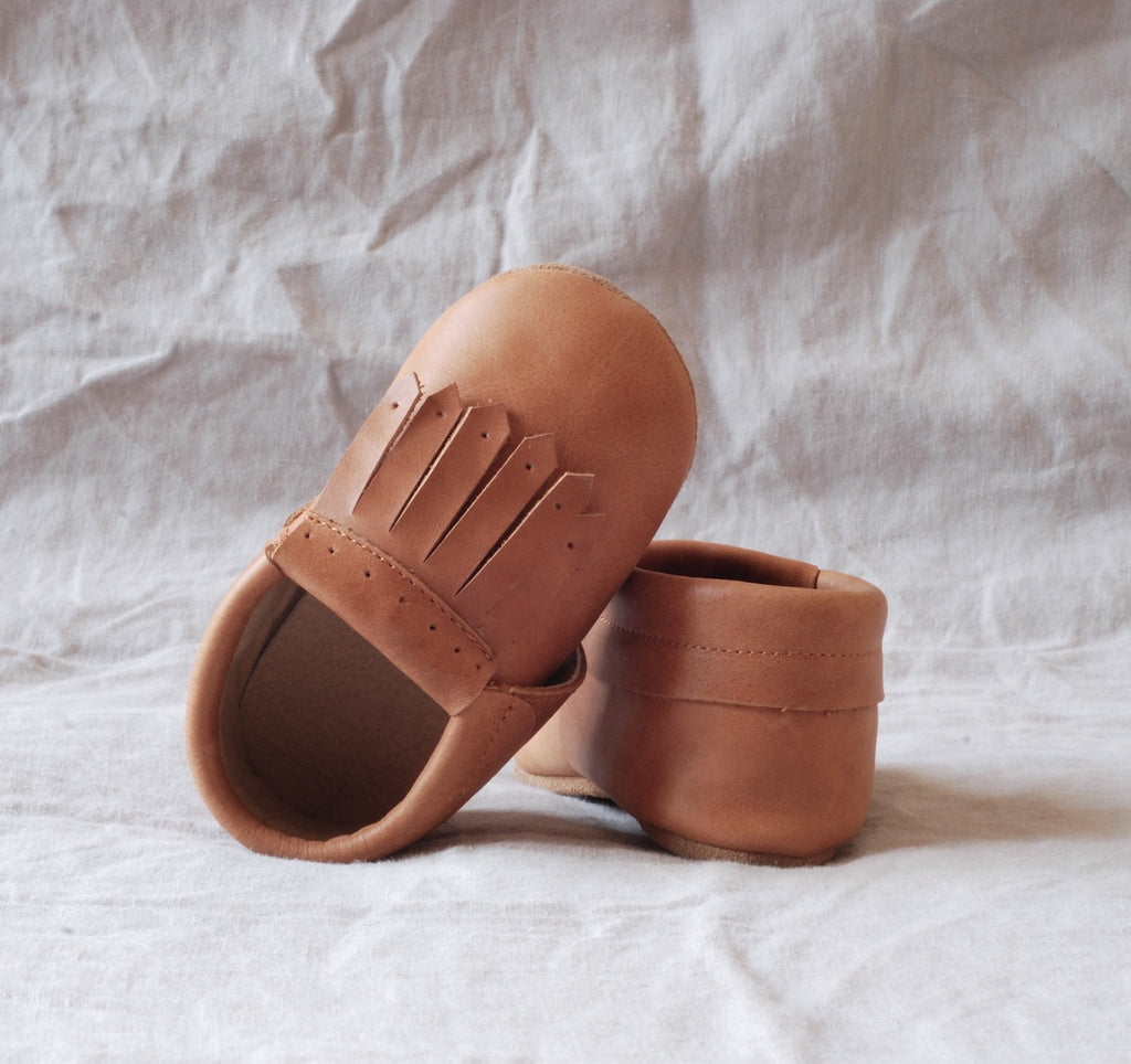 Baby Loafers Not Moccasins in Real Leather with Soft Soles by Kit & Kate in a lovely shade of natural brown