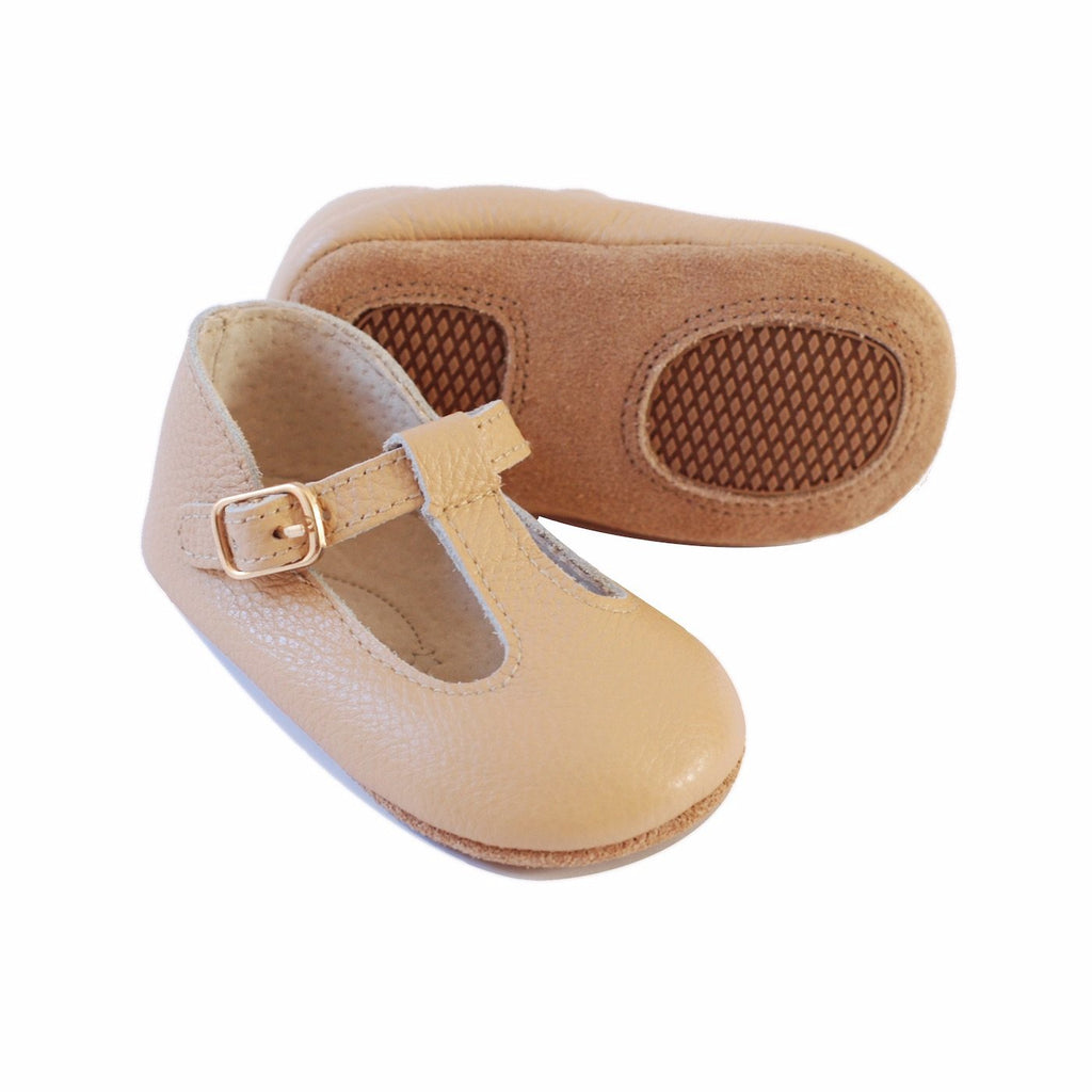 Baby Shoes - Paris baby t-bar shoes for babies & toddlers little girls,, soft soles natural leather beige light brown sand Kit & Kate c26