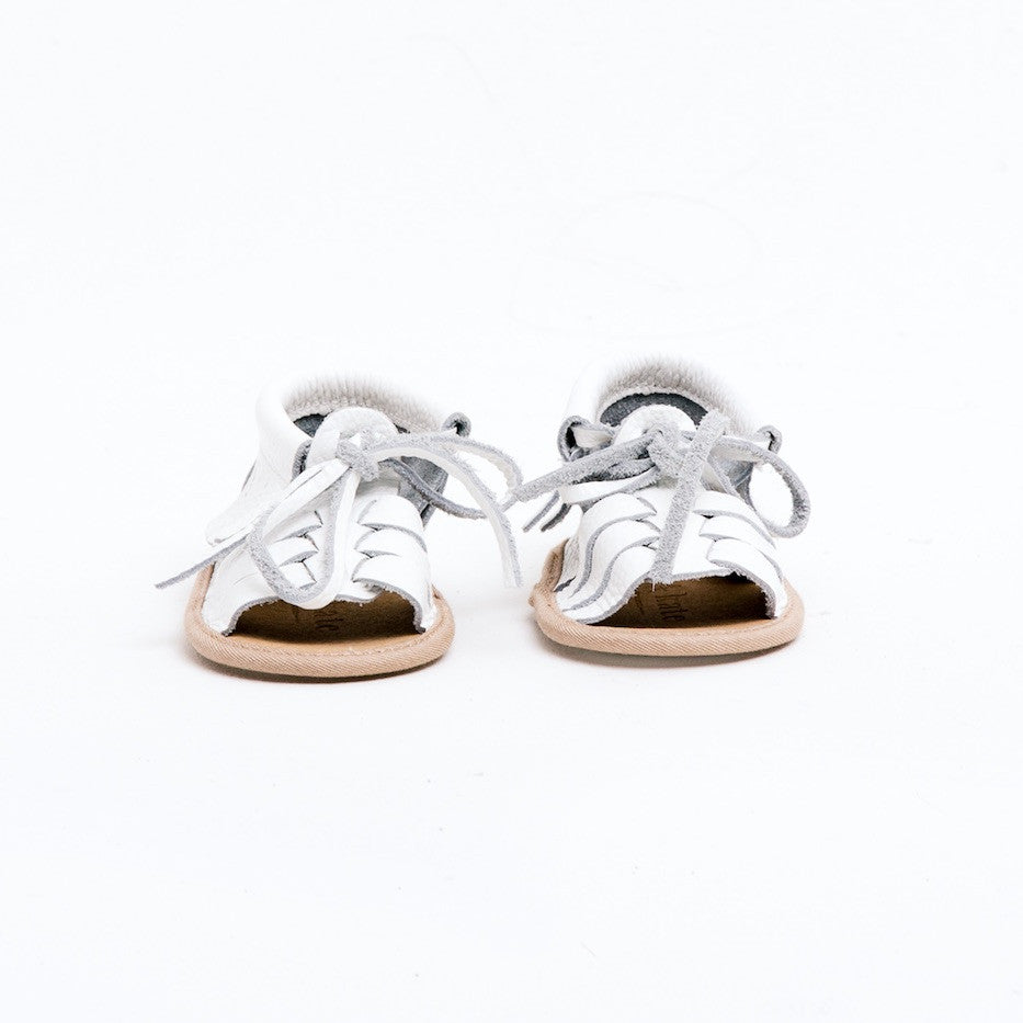 Baby Sandals - Cali White for babies toddlers and children, natural leather boys & girls, Kit & Kate Australia Perth 1