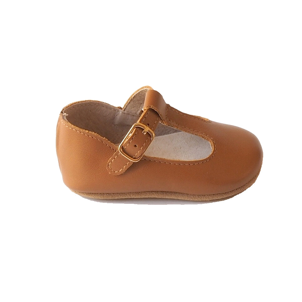 Baby Shoes - Paris baby t-bar shoes for babies & toddlers, little girls, soft soles natural leather light brown caramel  Kit & Kate14