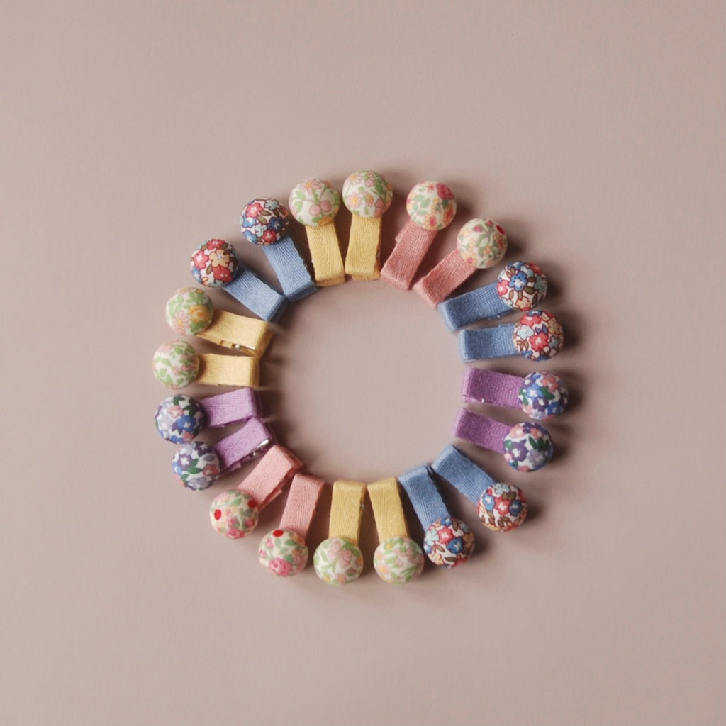 Kit & Kate Button Children's Hair Clips - Violet