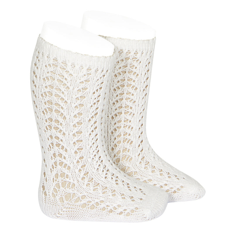 Condor Socks - Openwork, Warm Knee High - Cream