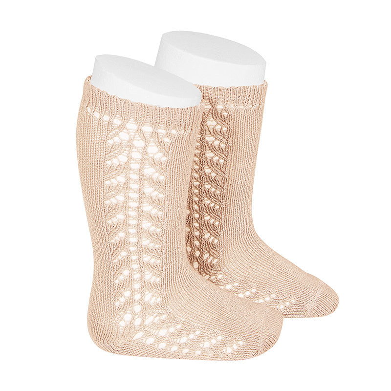Condor Socks - Side Openwork Lace Knee High - Nude