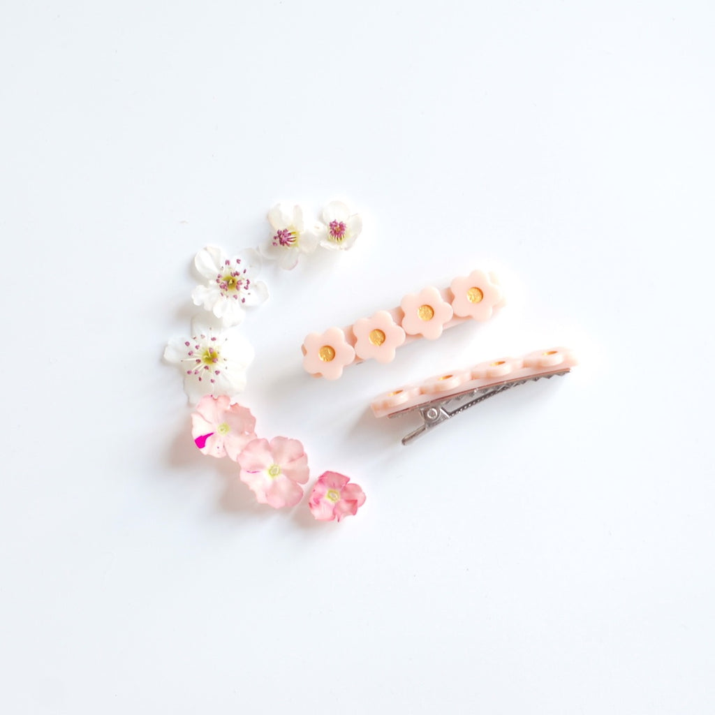 Kit & Kate Flora  Children's Hair Clips - Peachy Pink
