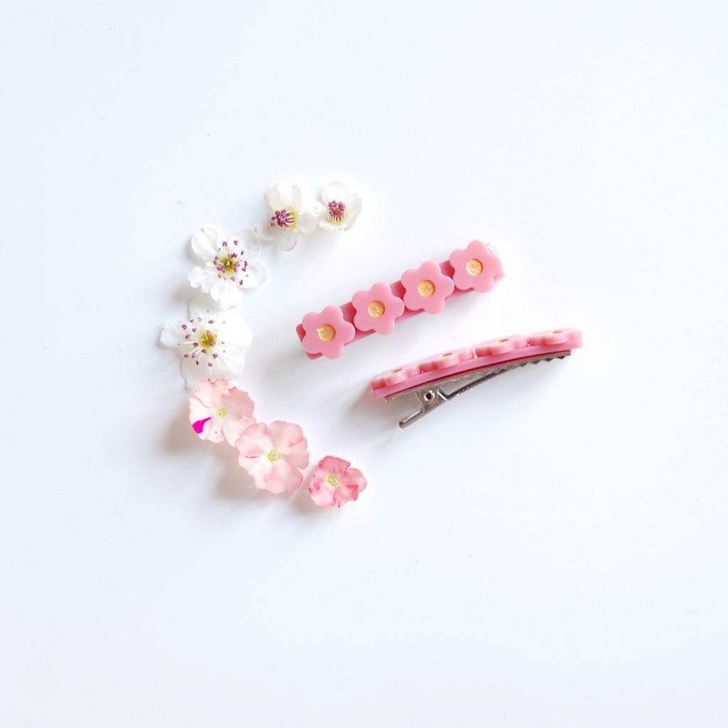 Kit & Kate Flora  Children's Hair Clips - Raspberry