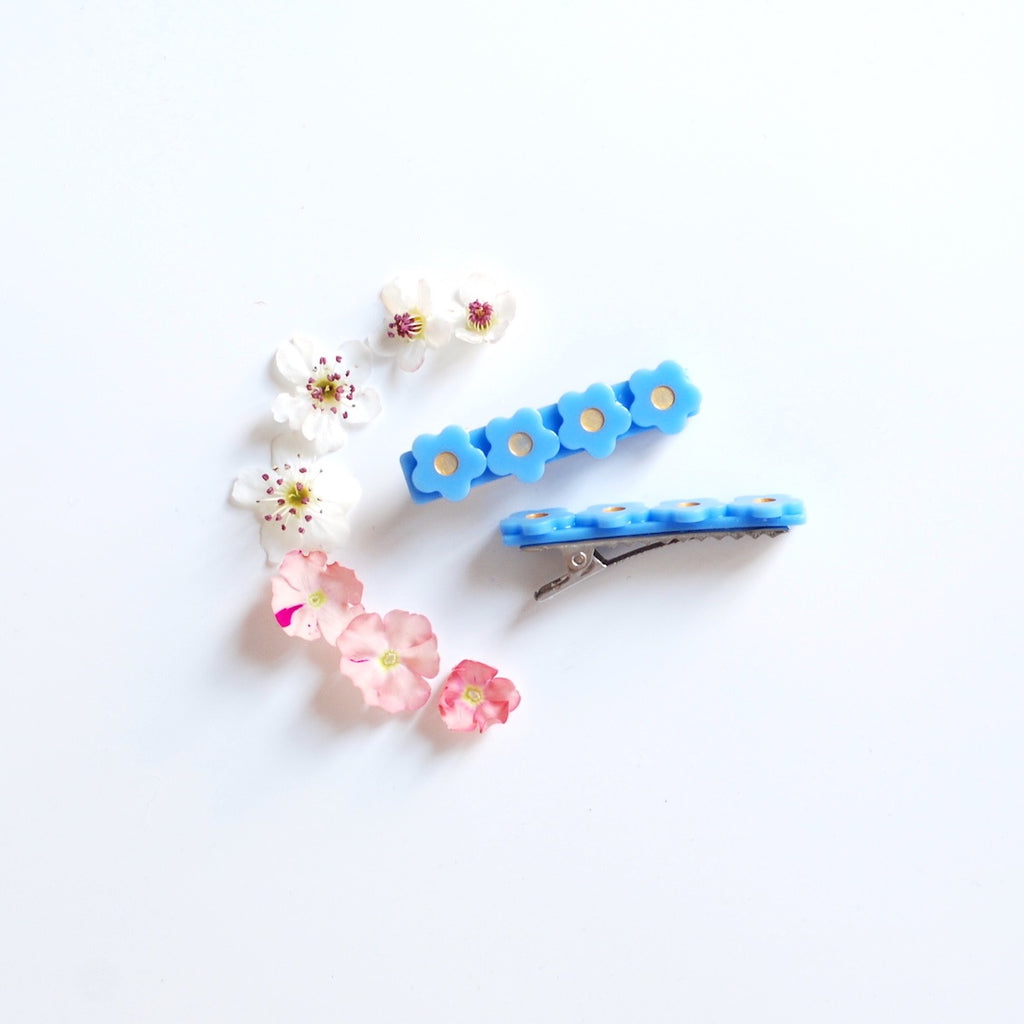 Kit & Kate Flora  Children's Hair Clips - Sky Blue