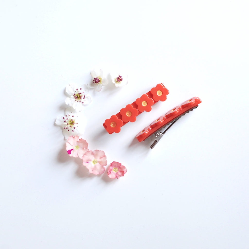 Kit & Kate Flora  Children's Hair Clips - Sunset Red