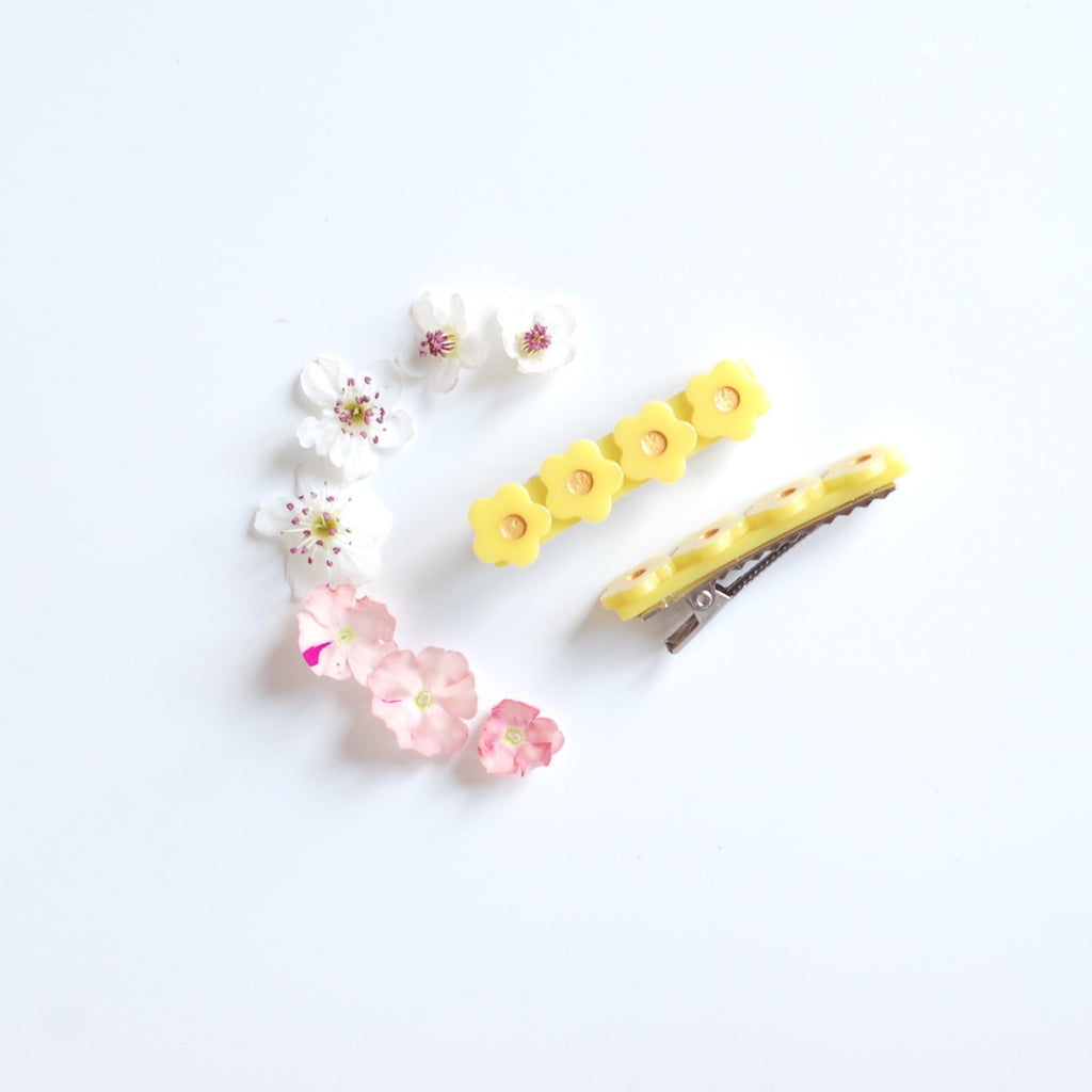 Kit & Kate Flora  Children's Hair Clips - Sunshine Yellow
