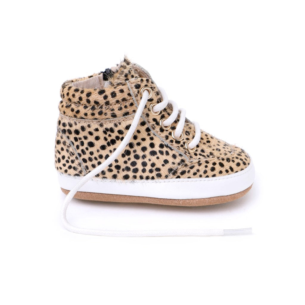 High Top Sneaker Baby Shoes for Babies and Toddlers in Cheetah - Kit & Kate 1