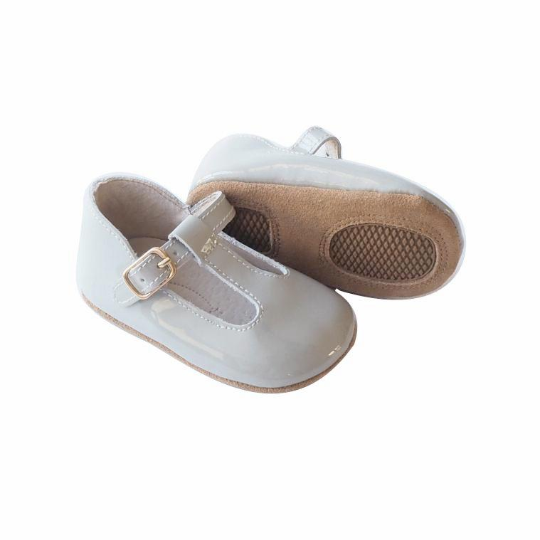 Baby Shoes - Paris grey baby t-bar shoes for babies & toddlers, Girls Kit & Kate soft soles natural leather 8