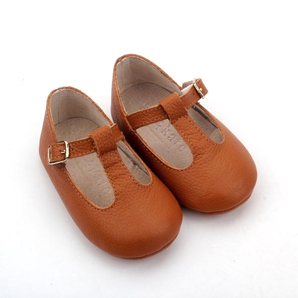 Baby Shoes - Tan Paris baby t-bar shoes for babies & toddlers little girls,, soft soles natural leather Kit & Kate c32