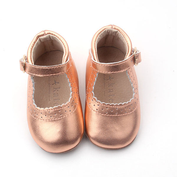 Baby Shoes - Eleanor Mary-Janes - Rose Gold Shoes for babies & toddlers, girls, soft soles natural leather Kit & Kate 2