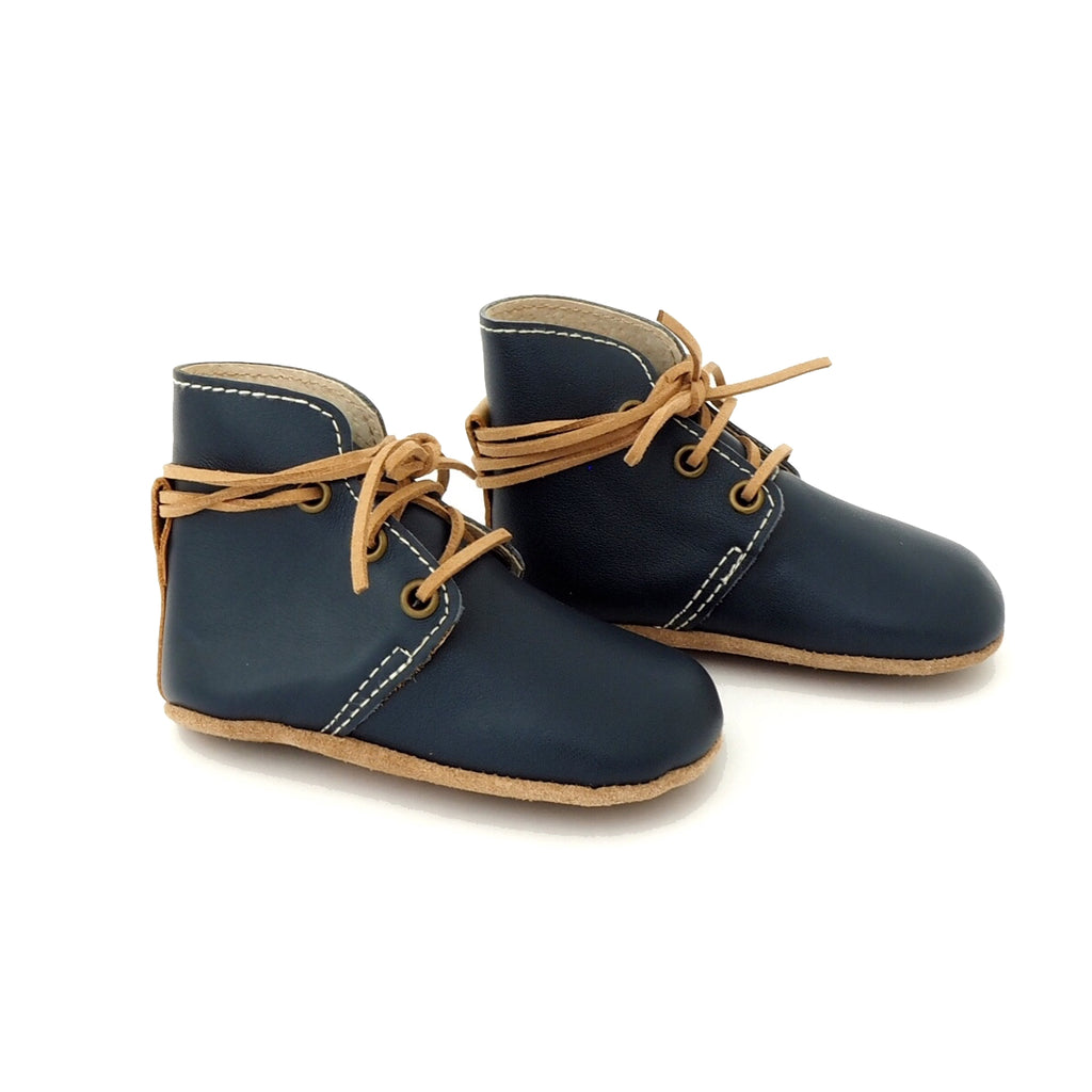 Baby Shoes - Aspen baby boots, shoes for babies & toddlers boys & girls, soft soles blue navy natural leather Kit & Kate 10