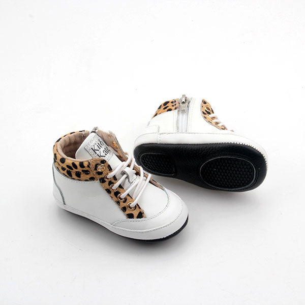 Baby Shoes - Cheetah White Brooklyn Sneakers / Hightops - Shoes for babies & toddlers, soft soles natural leather Boys & Grls  Kit & Kate Australia 8