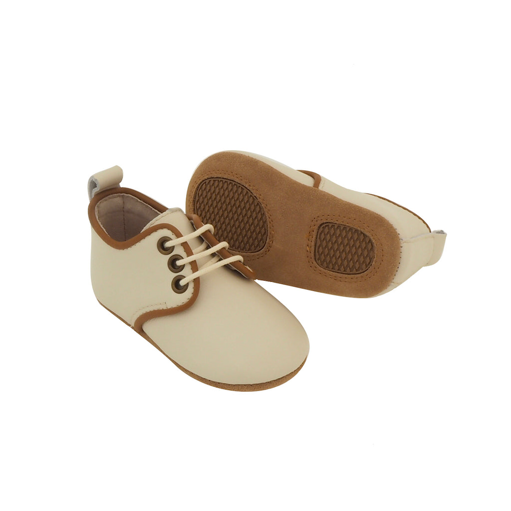 Baby Shoes - Cream Oxford Shoes for Babies & Toddlers. Soft Soles Natural Leather boys & Girls Kit & Kate Perth Western Australia 2