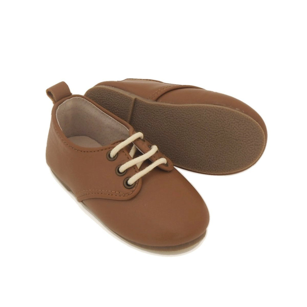 Children's Caramel Brown Tan Oxford Shoes for Children & Kids. Natural Leather, super comfortable, quality, stylish boys & Girls Kit & Kate 9