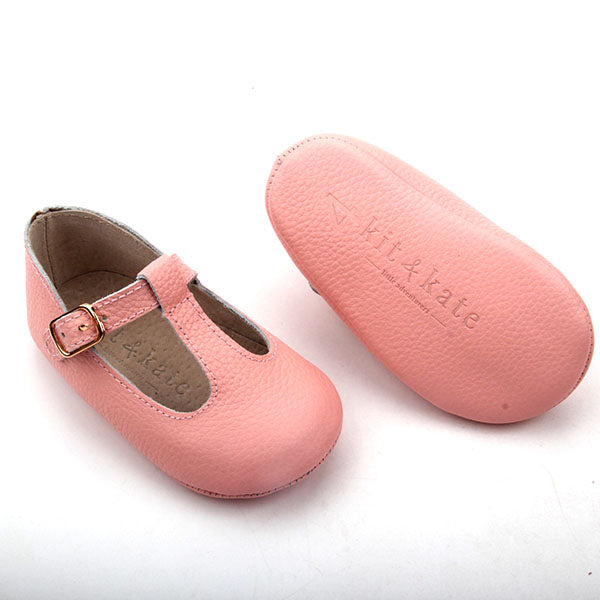 Baby Shoes - Paris baby t-bar shoes for babies & toddlers, soft soles natural leather 25