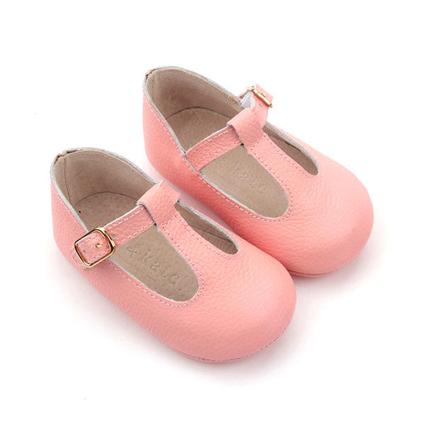 Baby Shoes - Paris baby t-bar shoes for babies & toddlers little girls,, soft soles natural leather pink Kit & Kate c25