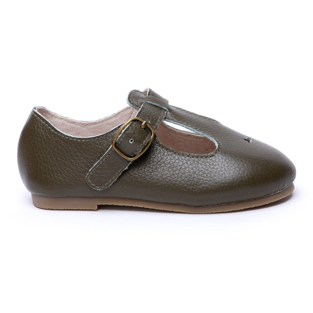 Children's T-bar Shoes for Children & Kids. Natural Leather 8