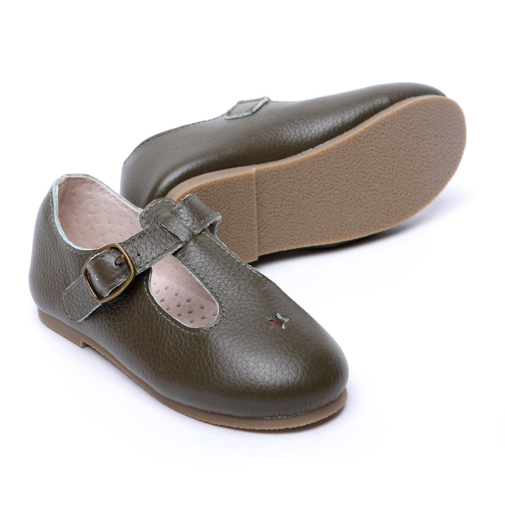 Children's T-bar Shoes for Children & Kids & little girls. Natural Leather 12 - Dark Green Kit & Kate Australia 21