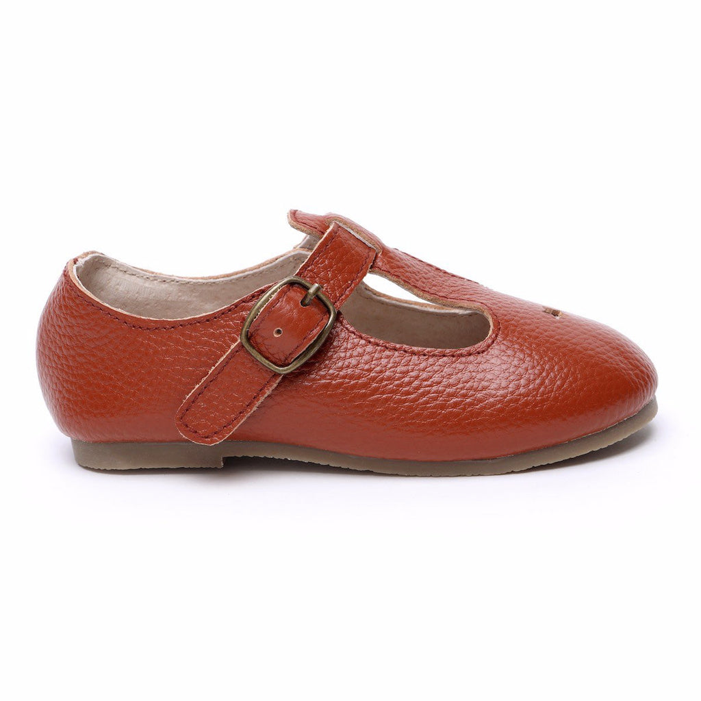 Children's T-bar Shoes for Children & Kids. Natural Leather 1