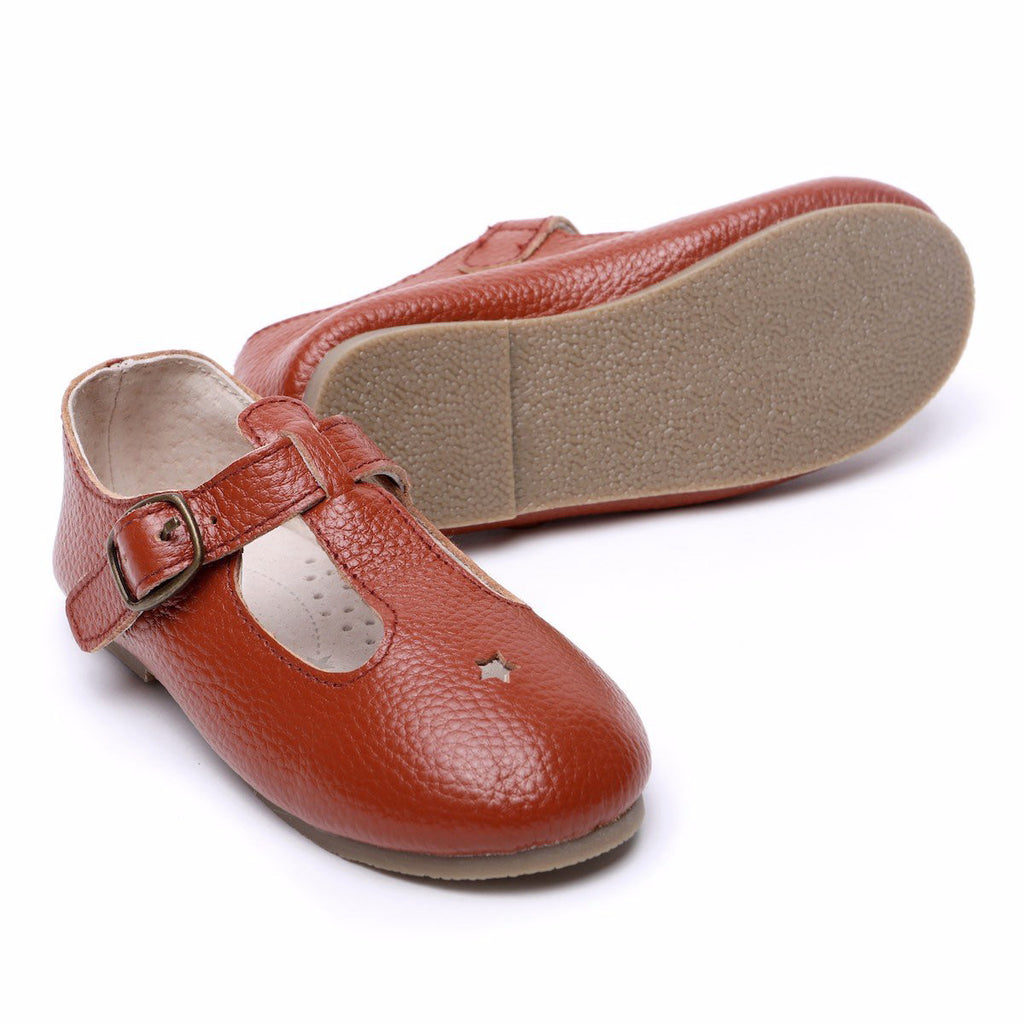 Children's T-bar Shoes for Children & Kids. Natural Leather 2